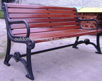 Cast Iron Solid wood patio bench/outdoor bench/weather resistant park bench