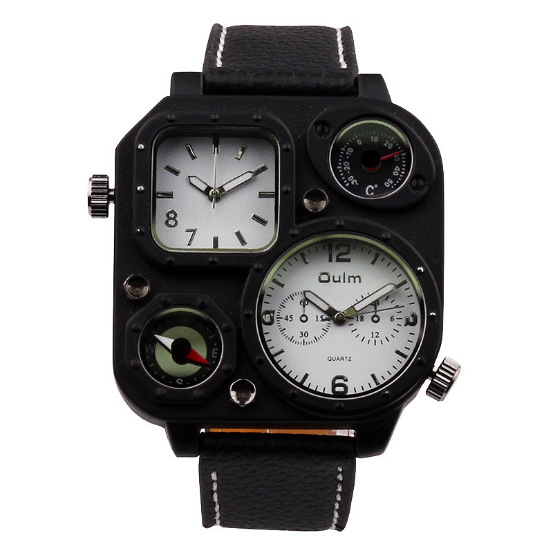 OULM Quartz Watch Leather Climbing Sports Watches Multiple Time Zone Wristwatch Luxury Brand Military latch