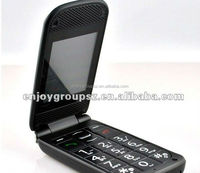 MP3 mobile phone 2.2 inch Flip big boutton with sos Dual SIM card quad band OEM flip mobile phone made in China