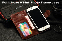 Hot Selling Luxury Vintage Leather Wallet Case Flip Stand Cover With Photo Frame+Card Holder For iPhone 6 Plus 5.5