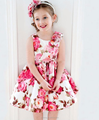 2016 summer new big flower printing sleeveless dress bowknot vest girls skirt