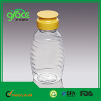 silicone value lid plastic food grade pet empty clear squeeze honey bottle