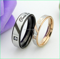 High quality stainless steel diamond ring couple wedding love ring