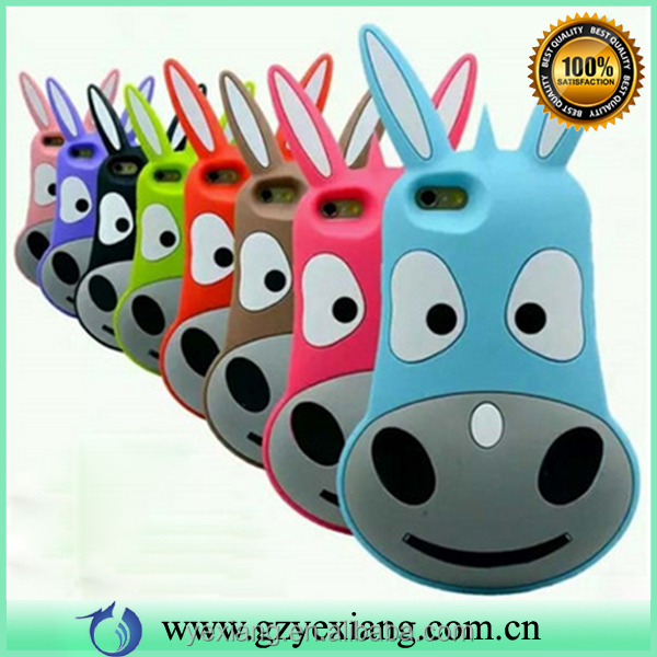 8 colors 3d cartoon burro silicon cell phone cover for iphone 6 plus gel rubber case