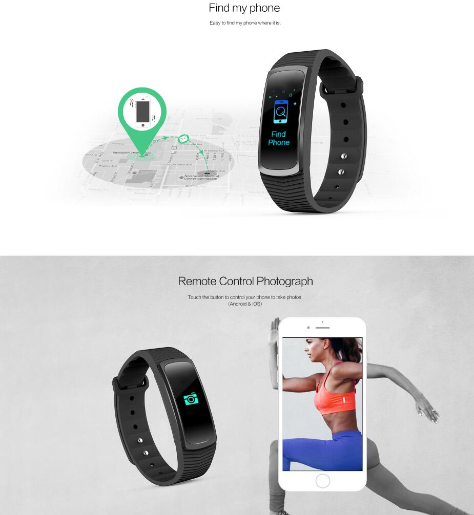 2018 lastest Smart Bracelet Fitness Tracker With Music Control Colorful Full Touch IPS Screen Smart Band