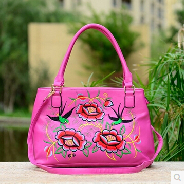 women high quality pu leather flower china embroidery ethnic handbag bag