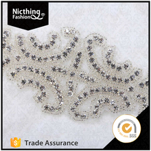 Fashion Designs Embroidered Textile Wholesale accessories handmade bridal sequin appliques rhinestone WRA128