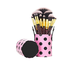 personalized soft hair private label Cosmetics Pink a Dots Makeup Brushes with cylindrical Travel Holder
