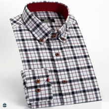 T-MSS562 100% Cotton Checked Flannel Long Sleeved Casual Shirts for Men