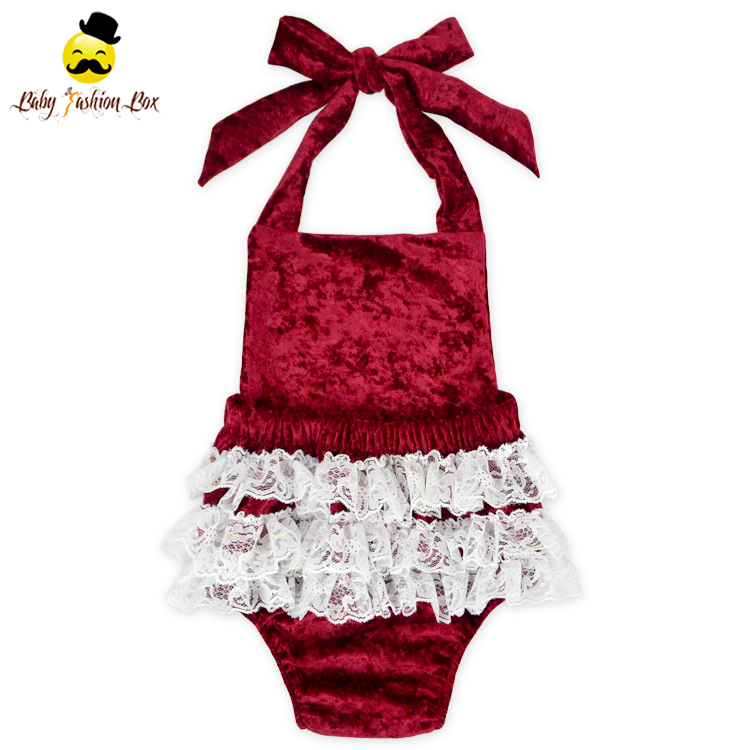 Latest Design Boutique Baby Romper Halter Winter Clothes Crushed Velvet Fabric Romper Set Wholesale