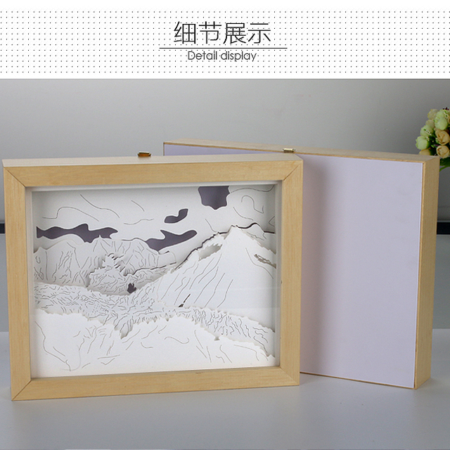 Hot Selling Products New Design Paper Cut Box Silhouette Photo Frame With Led Lights For Home Decorations