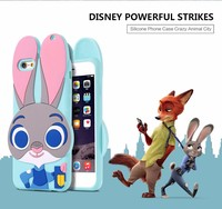 Soft Silicone Cute Animal 3D Rabbit Phone Case for iPhone 5 5s SE 6 6s 6Plus 6sPlus ZOOTOPIA TPU Soft Case