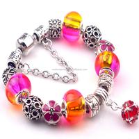 Wholesale Resin Beads Chain Bracelet Colorful European Charm Rainbow Glass Bead Red Flower Zinc Alloy Bracelet With Gem Dangle