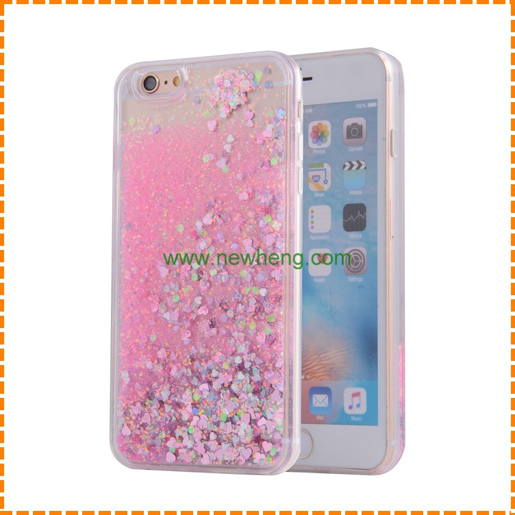 Transparent Quicksand Glitter Stars Bling Back Cover Case for iphone 6 6 plus