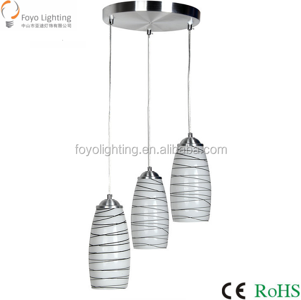 Hot Selling Classic Glass Pendant Lamp E27*3 for Indoor Lighting