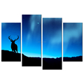 Deer in the Dark Night HD Picture Printed on Canvas Starry Night Giclee Prints Wholesale Framed Canvas Artwork 4 Panels