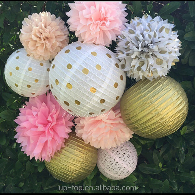 New spring series popular paper lantern tissue pom poms fan honeycomb ball party set