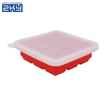 Wholesale Unbreakable Big Ice Cube Tray,FDA Approved DIY Large Square Silicone Ice Cube Mold Tray with Lid