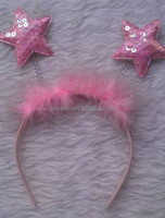 pink sequin stars headband for kids
