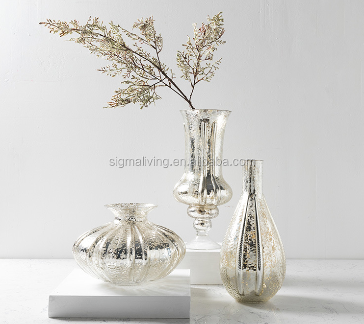 New living room dining room decoration vase decoration silver color  Hand-blown glass vase