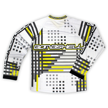 Long sleeve custom made yellow and black striped bmx jersey