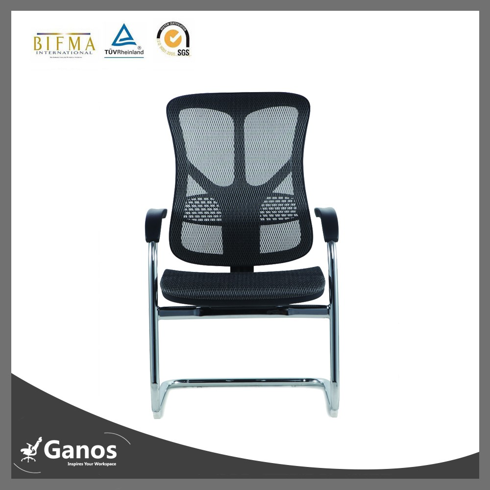 low Back Office fixed Chair with Mesh Back and Soft Headrest & Seat Bag