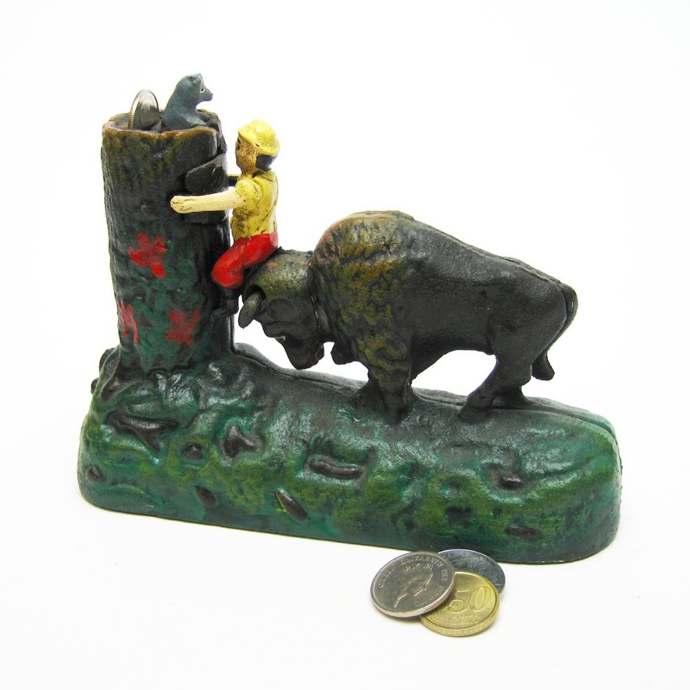 hot sale new product Buffalo Mechanical Bank metal piggy bank