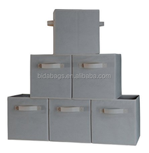Foldable Cube Storage Container - Set of 6 Light Gray Storage