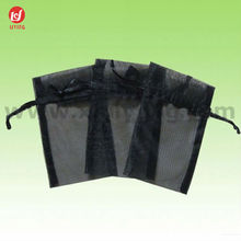Black Drawstring Decorated Organza Pouches for Gift