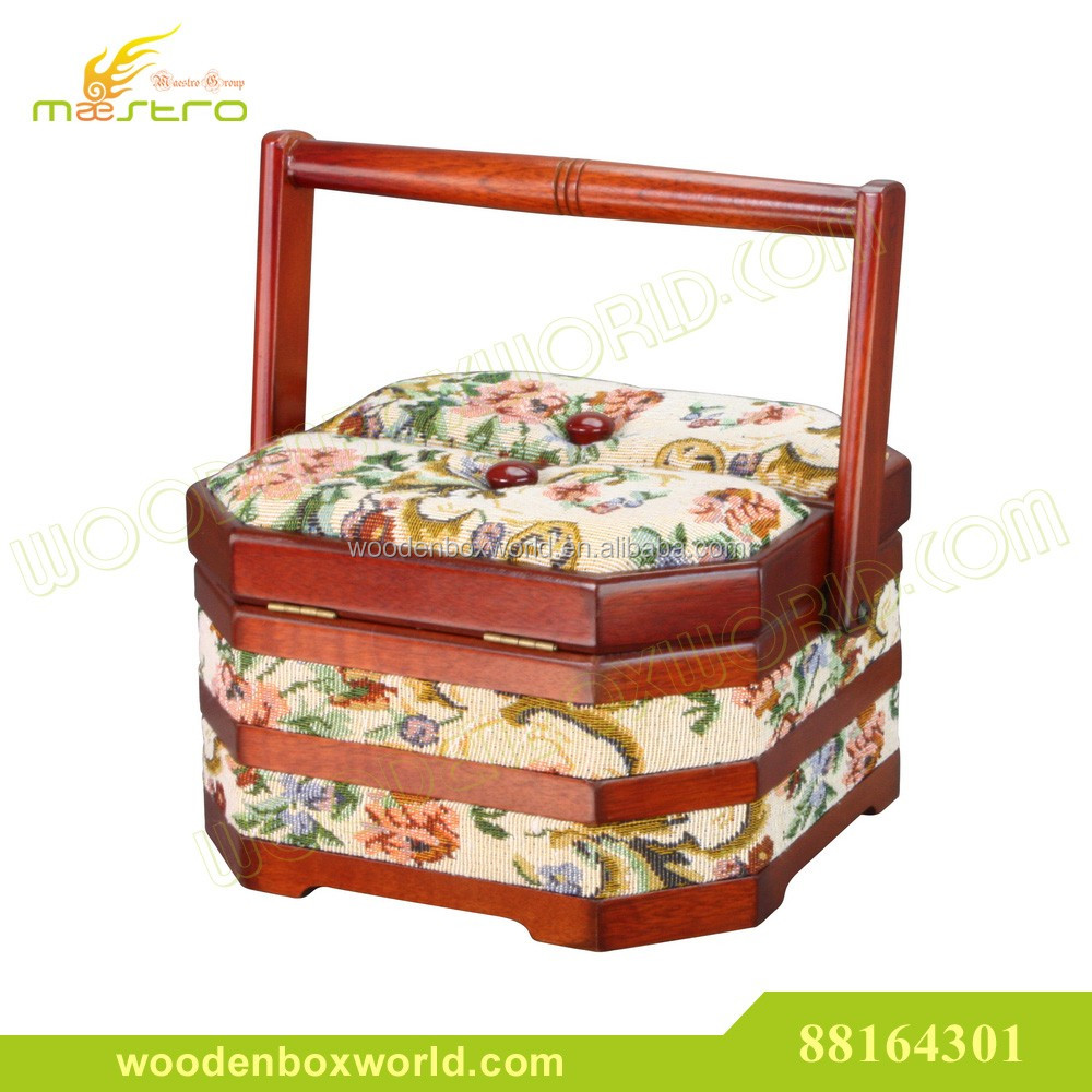Vintage Fabric Tapestried Wooden Sewing Basket