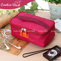 Fashion mesh design beautiful water-proof Nylon 420D toiletry digital accessories travel makeup cosmetic bag with handle