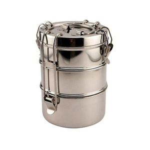 3 Layers Stainless Steel Round Lunch Bento Box