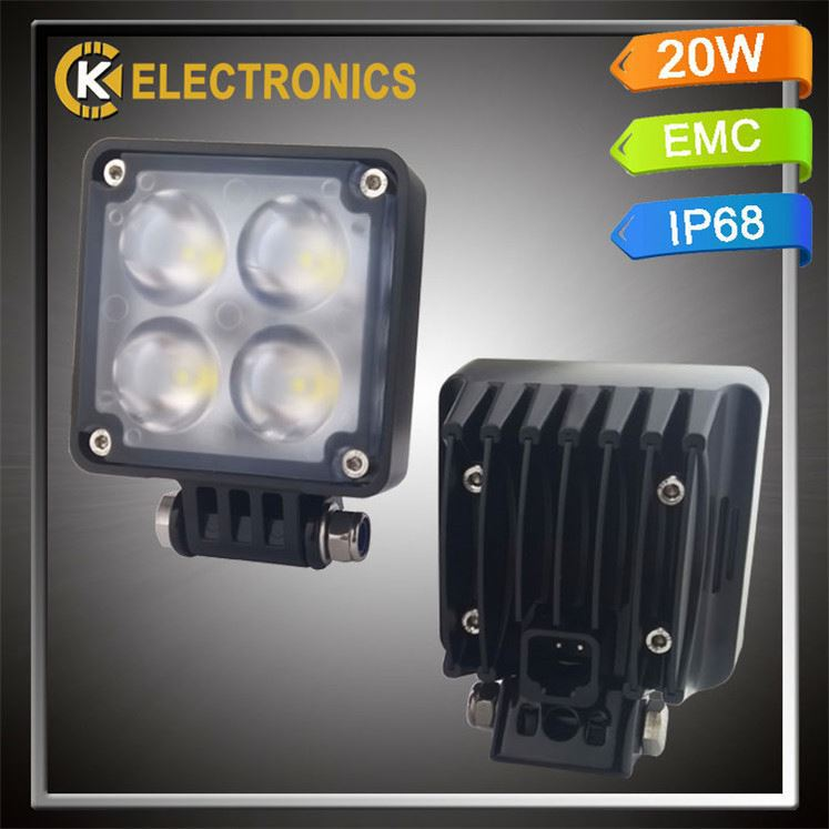 high quality factory price cars germany 6063 alloy waterproof IP68 off road square 4d 20w work light