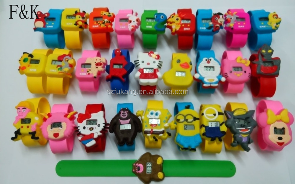 Fashion animal style silicone kids slap bracelet watch made in china