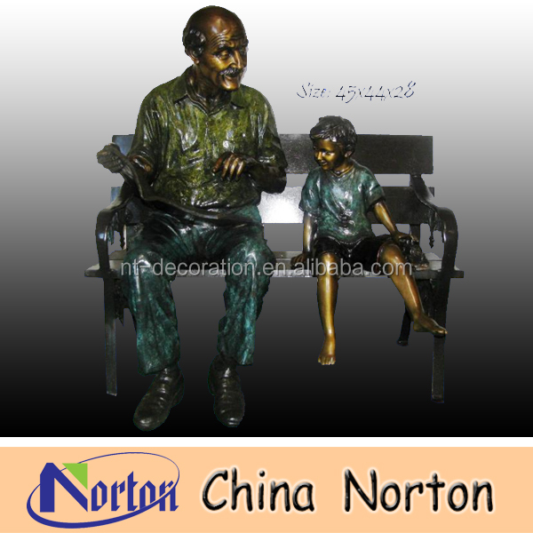 sitting grandfather and little boy reading book on bench bronze statue NTBH-C300