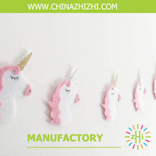 2017 New Product High Quality Soft Felt Animal Unicorn Garland For Home Decoration