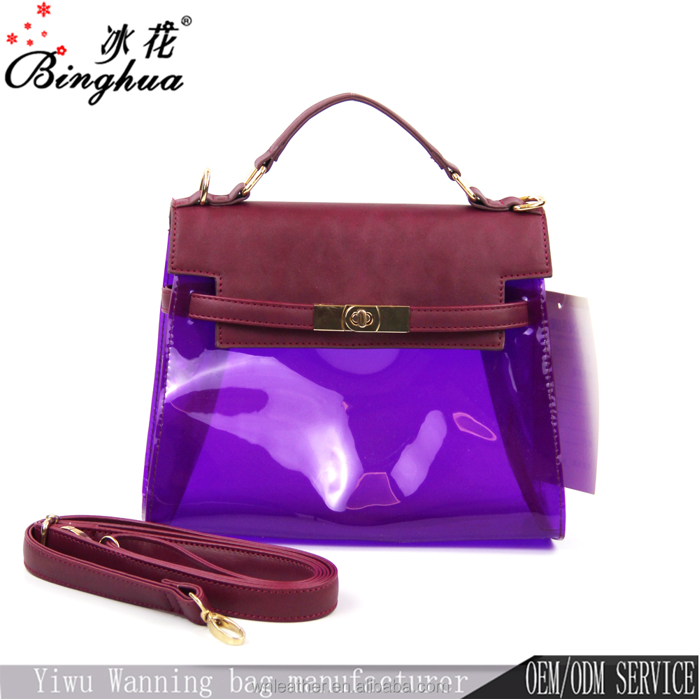 C-50247 2017 most popular personalized design lady wholesale fashion PVC transparent hand bag