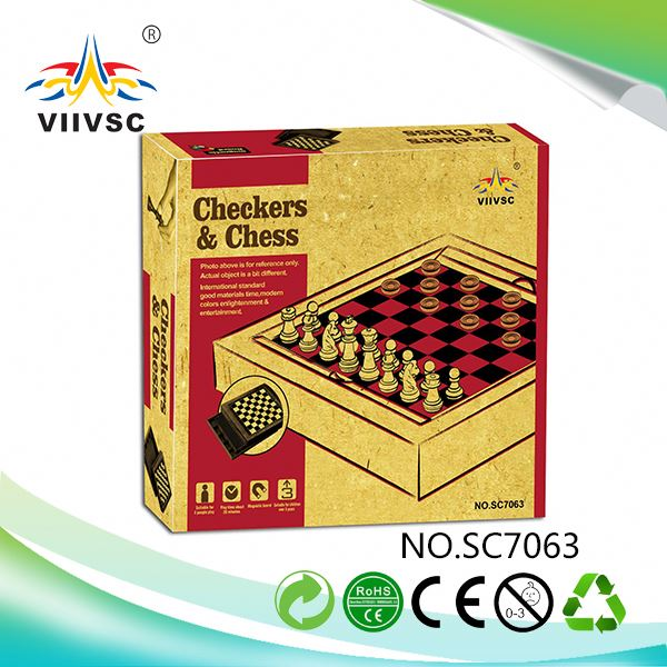 New product OEM quality wooden chess and draughts game made in china