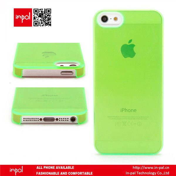 Green Clear crystal blank transparent PC back cover for sublimation for iphone 5