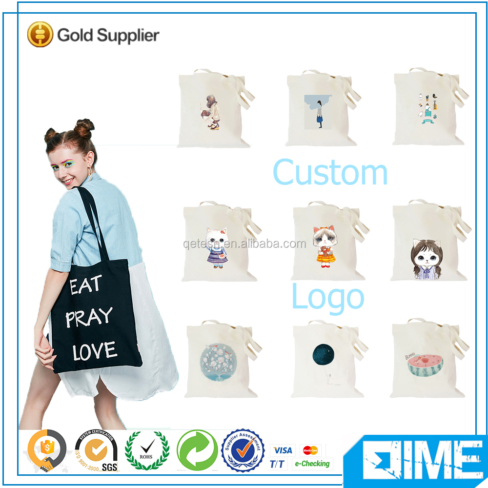 Custom wholesale standard size canvas tote bag leather handle