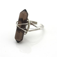 R014 Smoky Crystal Quartz Point Ring With Silver Electroplated , Wire Wrapped Jewelry