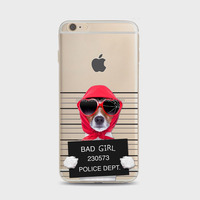 Cute cell phones cases creative naughty funny BAD GIRL puppy dog in jail Soft TPU customized phone cases For iPhone 6 plus 5.5''