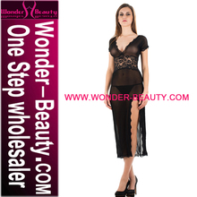 Black V-Neck Sexy Transparent Lidies Night Dress Sex