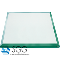 Top quality 12mm flat tempered glass table top