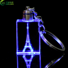 Eiffel Tower keychains / crystal LED lights laser logo key holders / souvenir gifts key tags