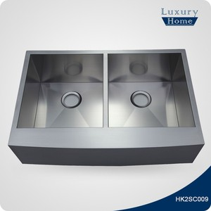 Commercial stainless steel double bowl apron front kitchen sink