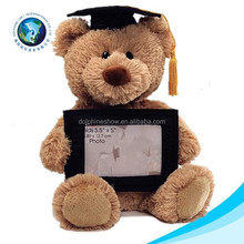 2015New type graduation plush toy soft plush photo frame picture cute cheap wholesale stuffed graduation photo frame
