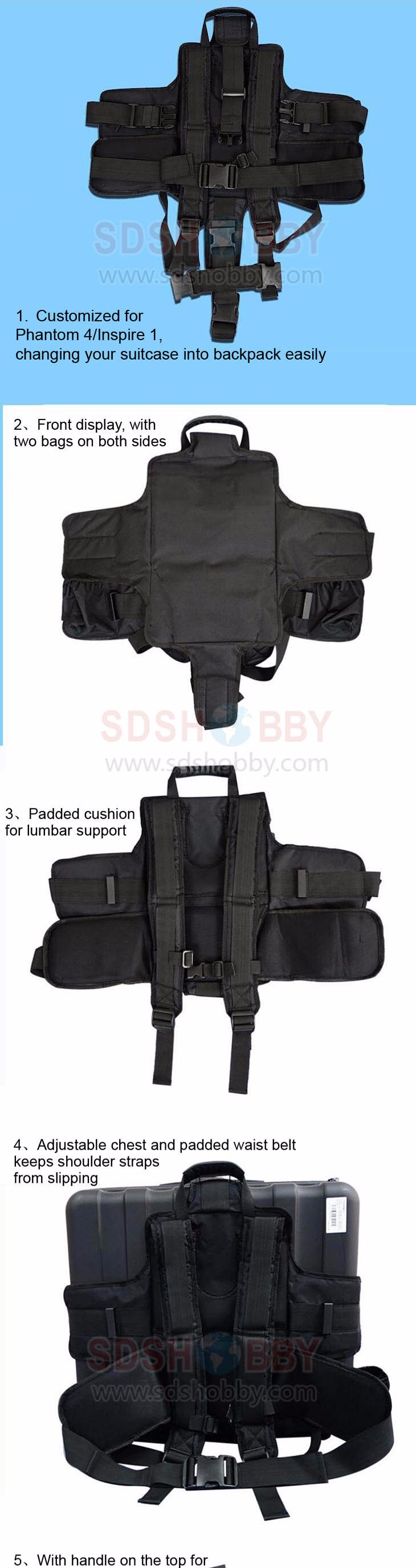 DJI Carrying Backpack Adapter Strap Belt Suitcase Shoulder Strap Carrying Case Strap for Phantom 4 Inspire 1