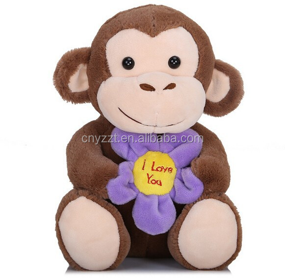 Valentine gift cute plush toy monkey with red heart fashion stuffed soft plush monkey names