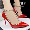 Small Quantity New Style Sexy Rievt High Heel Ladies Shoes 2016